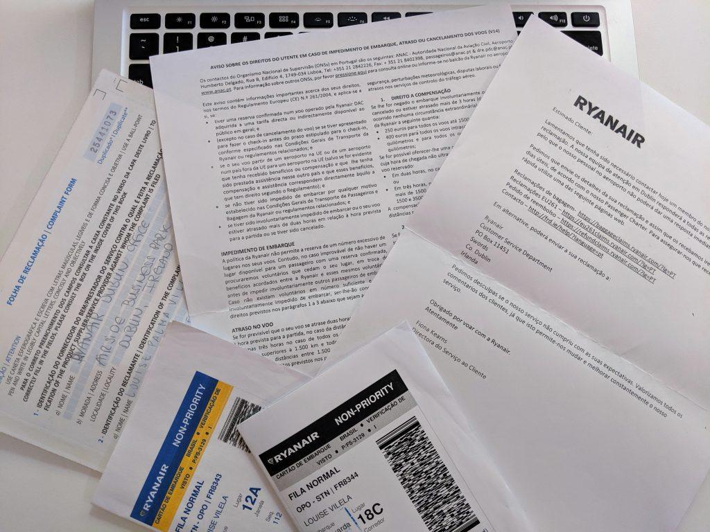 Orientações fornecidas pela Ryanair para reclamações online